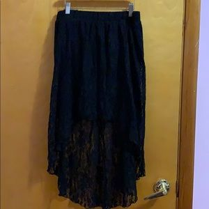 Black lacy high low skirt